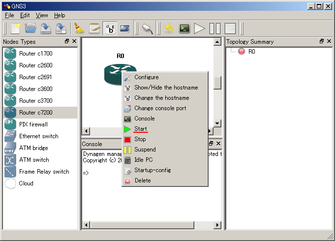 Setting of idlepc | GNS3 setting manual